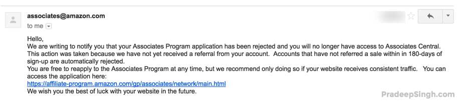 Amazon Affiliate Program Deactivated Rejected Amazon associates
