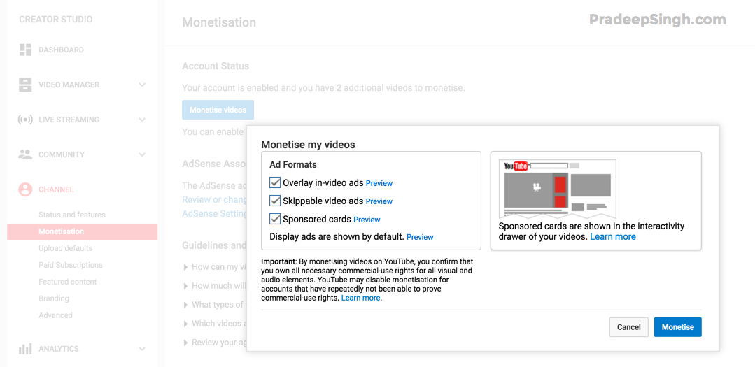 Channel Monetization YouTube Videos