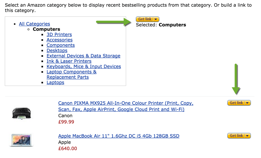 Links for Product Categories for Amazon Associates