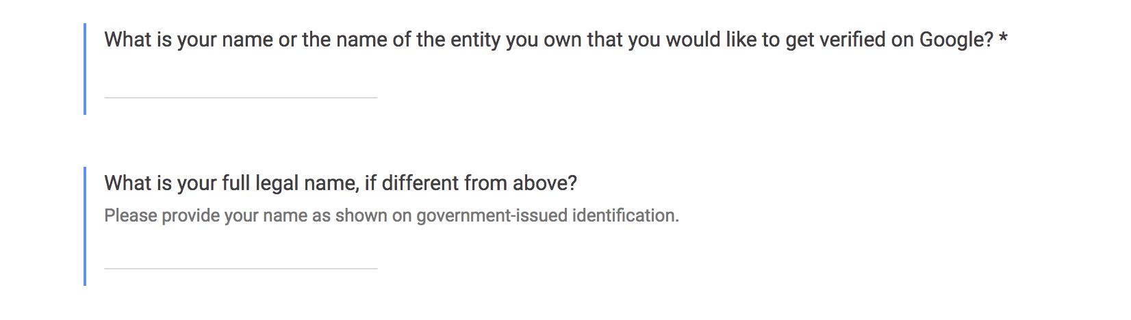 Name details for Google Knowledge Panel Verification