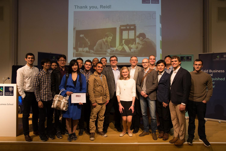 Pradeep Singh with Reid Hoffman at Said Business School, University of Oxford