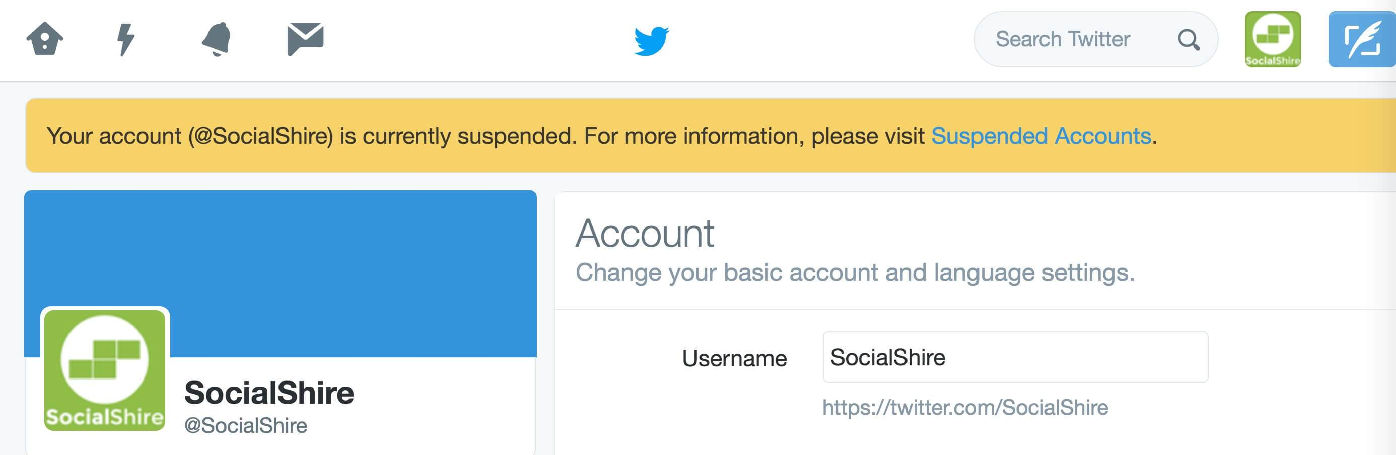 SocialShire Twitter Account Suspended