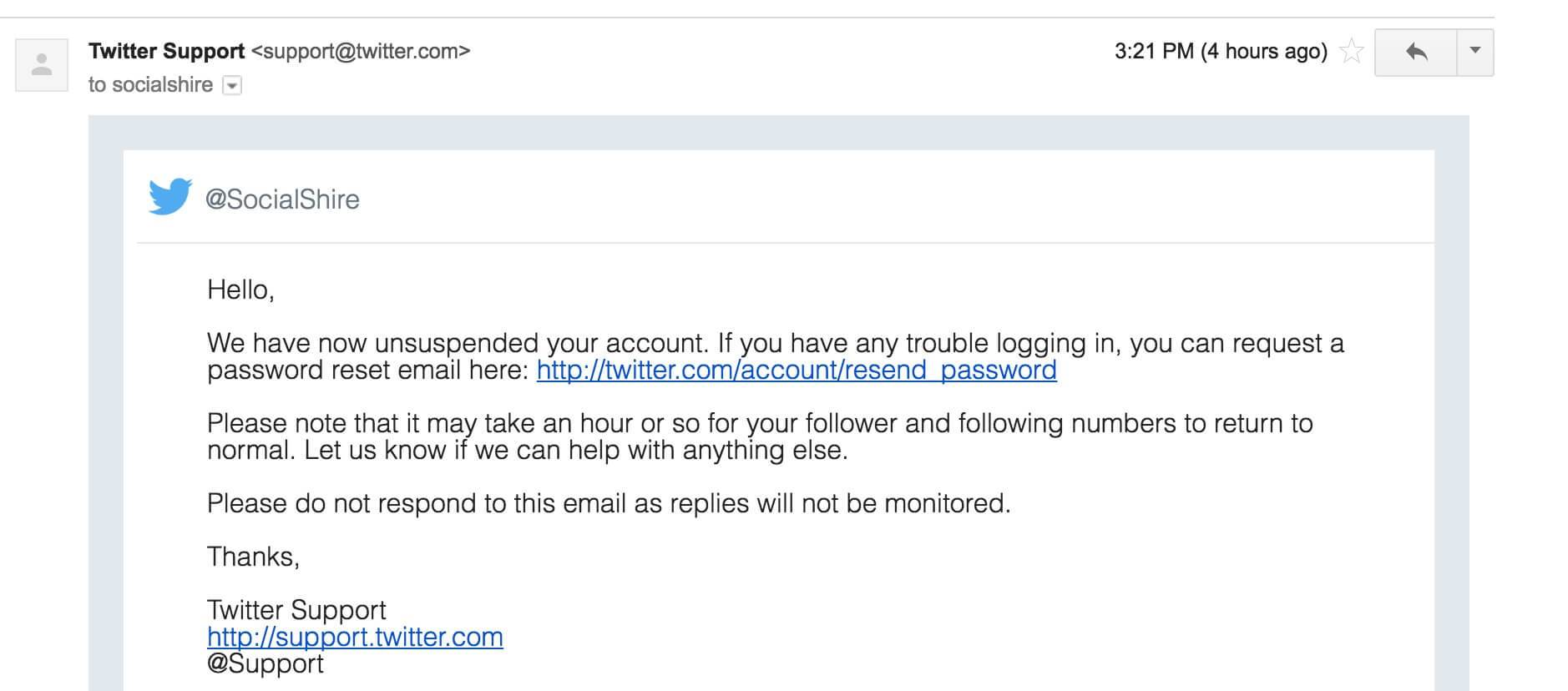 Twitter Support Reply Account Unsuspended